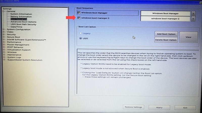 Dell BIOS設定画面でのNo bootable devices found解決方法